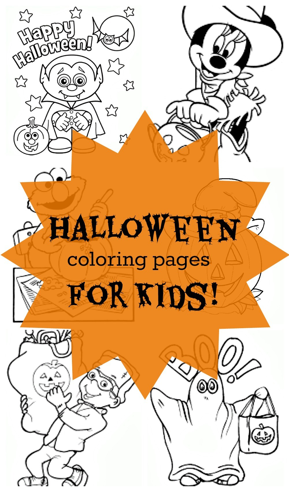 Free Halloween Coloring Pages for Kids - Super cute Halloween printable pictures and Halloween pumpkin coloring pages and activities!