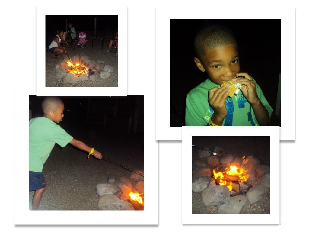 Roasting marshmallows is a memorablepart of any camping trip at KOA Ventura