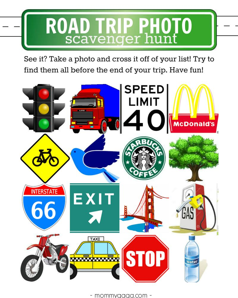 photo regarding Road Trip Scavenger Hunt Printable titled Totally free Printable Street Holiday Photograph Scavenger Hunt - Produce Household