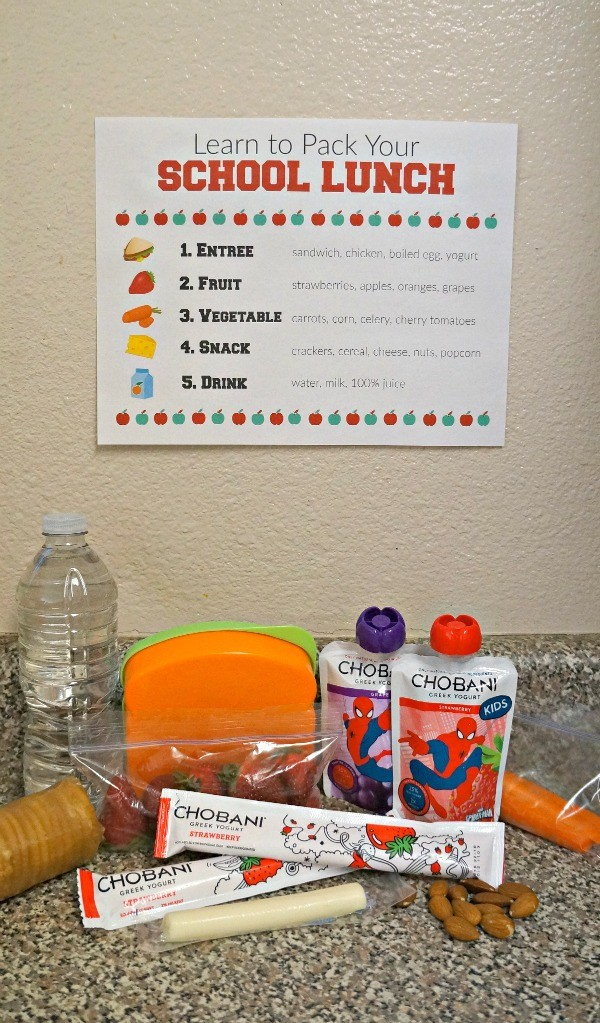 Teach kids how to pack their school lunch with this printable school lunch packing chart