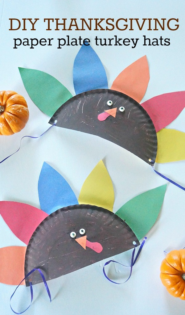 Thanksgiving crafts for kids make these DIY Thanksgiving paper plate hats  sc 1 st  Honey + Lime & Thanksgiving Crafts For Kids - Make Your Own Paper Plate Turkey Hats!